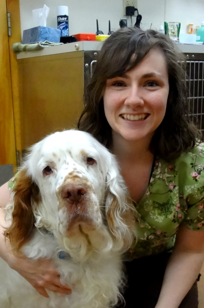 Emily with Dr. Soutter's dog Carlisle - Manchester Veterinary Clinic - CT