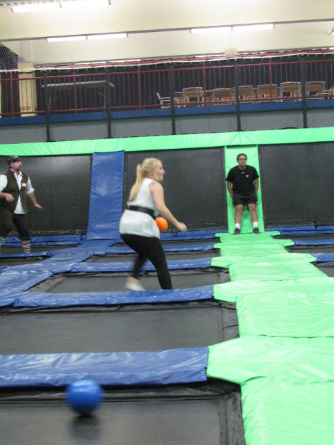 Shannon getting in position - Trampoline Dodgeball - AFC Veterinary Challenge 2015 – Manchester Vet Clinic - CT