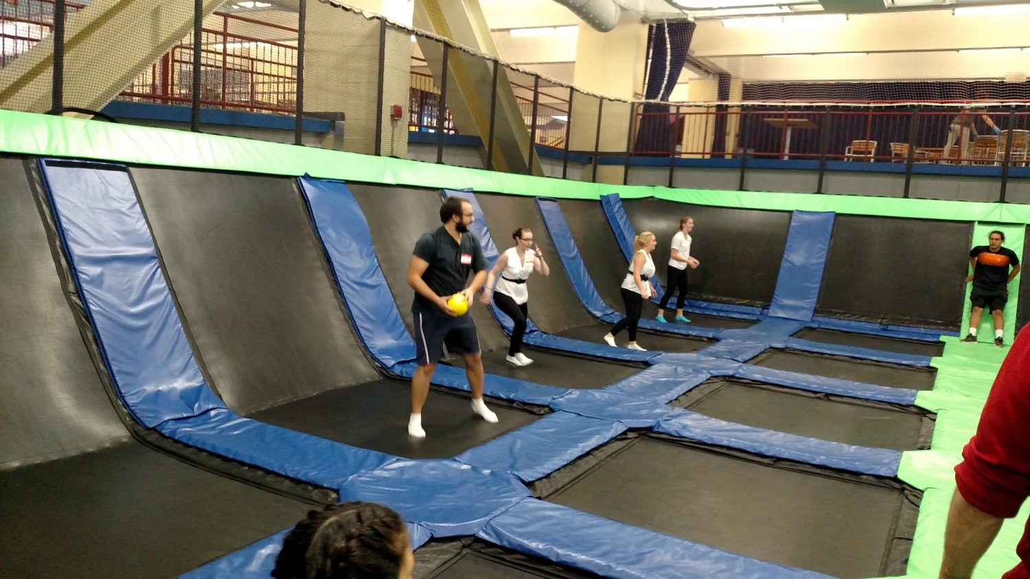 Jeff carefully calculating the ball's trajectory  - Trampoline Dodgeball - AFC Veterinary Challenge 2015 – Manchester Vet Clinic - CT